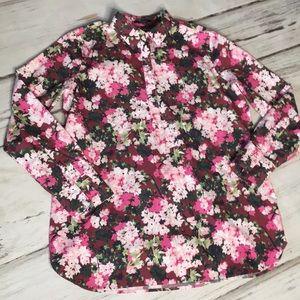 Lands' End Floral Blouse Top Popover Shirt Pink 12